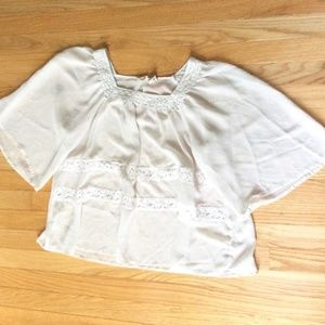 Mudd Ivory Sheer Bell Sleeve Top Blouse SZ XS